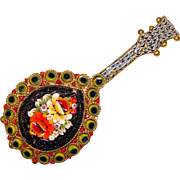 Fabulous Micro Mosaic MUSICAL Design Vintage Brooch