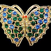 Fabulous BUTTERFLY Blue Green Rhinestone Vintage Brooch