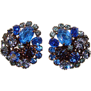 Vintage WEST GERMANY Large Blue Rhinestone Clip Earrings
