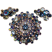 Fabulous WEISS Signed Blue Rhinestone Brooch Set