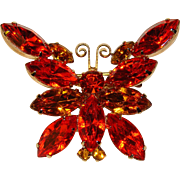 Fabulous BUTTERFLY Amber Orange Rhinestone Vintage Brooch