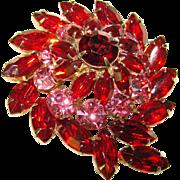 Gorgeous RED & PINK Rhinestone Vintage Pin Brooch