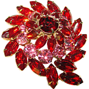 Gorgeous RED & PINK Rhinestone Vintage Pin Brooch