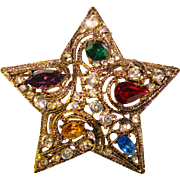 Fabulous HOLIDAY STAR Colored Rhinestone Vintage Brooch