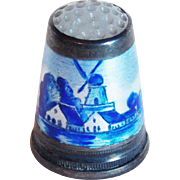 Vintage 800 Silver Enamel Glass Top Windmill Thimble