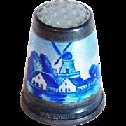 Vintage 800 Silver Enamel Glass Top Windmill Thimble