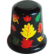 Vintage Wood Autumn Leaf Thimble