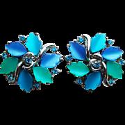 Vintage CORO Blue Thermoset & Rhinestone Earrings