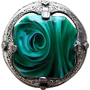 Gorgeous MIRACLE Signed Green Glass Vintage Brooch