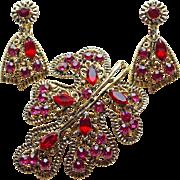 Gorgeous Red & Pink Rhinestone Vintage Brooch Set