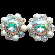 Signed Aurora Rhinestone Faux Pearl Vintage Earrings