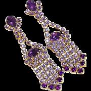 "Signed PURPLE & LAVENDER Rhinestone 3"" Dangle Earrings"