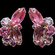 Gorgeous Pink & Lavender Rhinestone Vintage Earrings