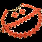 Fabulous TRIFARI Signed Vintage Coral Colored Stones Necklace Set