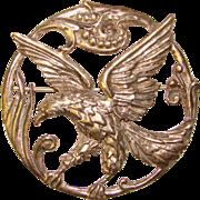 Fabulous WALTER LAMPL Sterling Majestic Eagle Brooch Pendant
