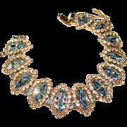 Fabulous WEISS Signed Aqua Blue Halo Rhinestone Bracelet
