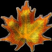 Fabulous HROAR PRYDZ Vintage Sterling Enamel Norway Autumn Leaf Brooch