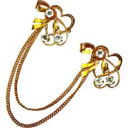 Gorgeous LOVERS HEARTS Iskin Signed Gold Filled Chatelaine Brooch