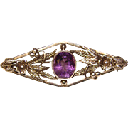 Gorgeous STERLING AMETHYST Vintage English Brooch