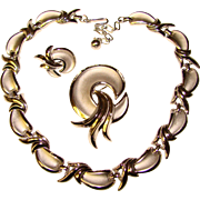 Fabulous TRIFARI Signed Silver Swirls Vintage Parure Set