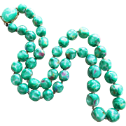 Gorgeous Green Art Glass Beads Vintage Necklace