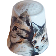 Vintage Cat & Kitten Porcelain Estate Thimble