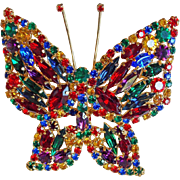 Fabulous Huge Butterfly Color Rhinestone Vintage Brooch