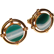 Awesome Green BANDED AGATE Vintage Estate Cufflinks
