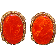 Awesome BAKELITE Signed Vintage Clip Earrings