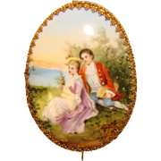 Gorgeous Victorian LOVERS Scene Antique Porcelain Brooch