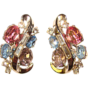 Fabulous TRIFARI Lavender Pink and Blue Rhinestone Clip Earrings