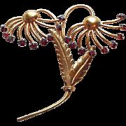 Huge 1940s Retro Red Rhinestone Flower Vintage Brooch