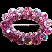 Gorgeous Pink Aurora Crystal Vintage Brooch