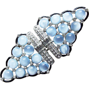 Fabulous ART DECO Blue Glass & Rhinestone Buckle