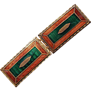 Art Deco Orange & Green Enamel Buckle
