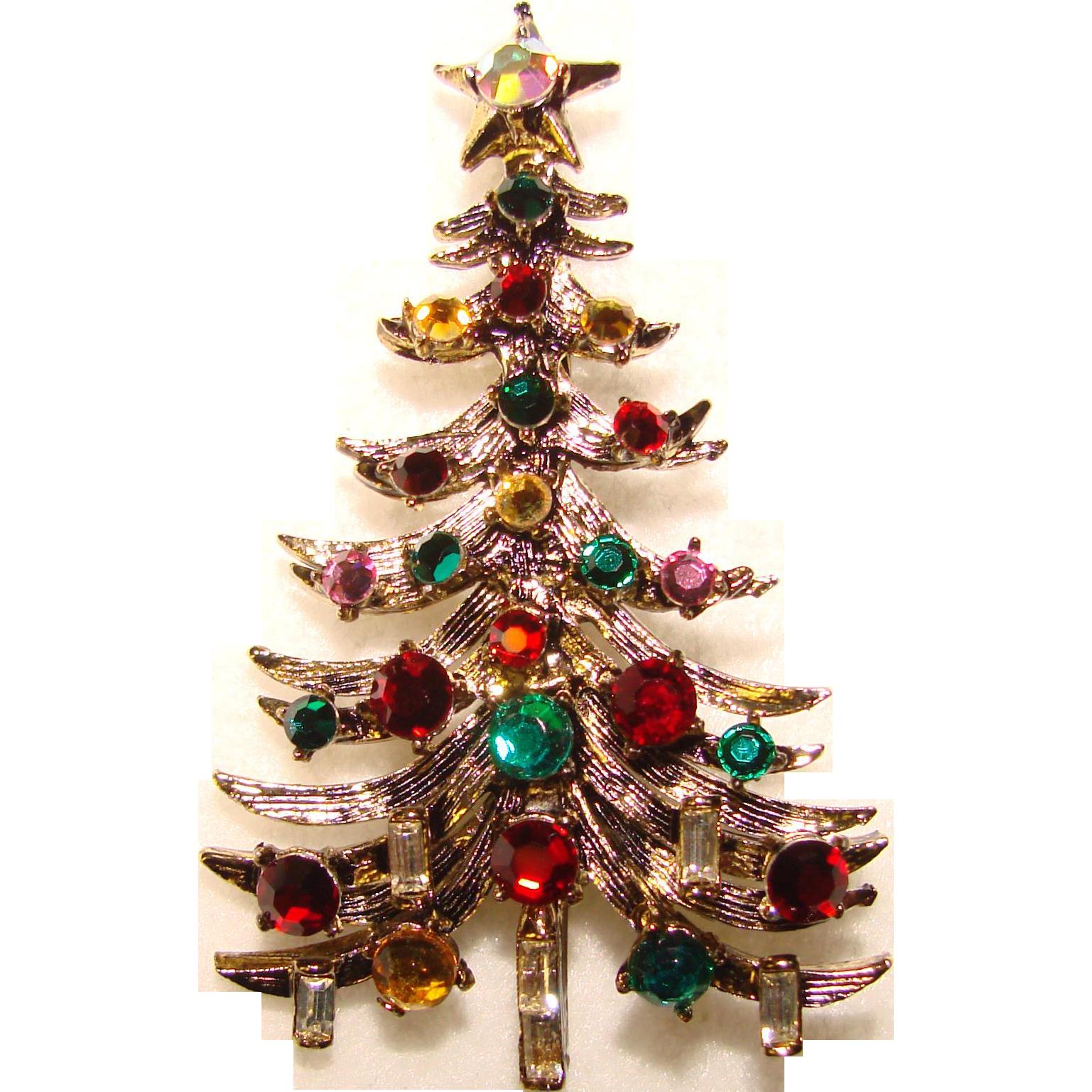 Vintage Christmas Tree: Fabulous HOLLYCRAFT Vintage Christmas Tree Brooch From