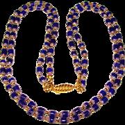 Fabulous COBALT BLUE Italian Chevron Glass Beaded Double Strand Vintage Necklace