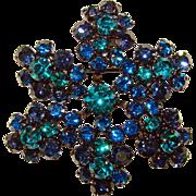 Fabulous TEAL & CAPRI BLUE Rhinestone Vintage Brooch