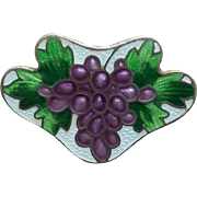 Antique Sterling Enamel Grapes F&B Watch or Locket Holder Brooch - Suffragette Colors