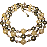 Fabulous VENDOME Silver Pearl Crystal 3 Strand Vintage Necklace