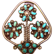 Fabulous STERLING & TURQUOISE Vintage Estate Brooch