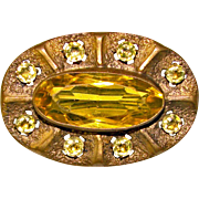 Gorgeous Victorian Amber Glass Antique Brooch