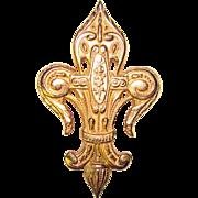 Gorgeous FLEUR DE LIS Goldtone Ornate Vintage Brooch