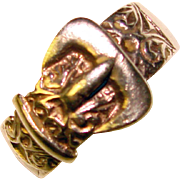 Awesome WIDE BAND Sterling Silver Buckle Design Ring Size 11
