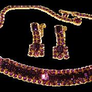Fabulous PURPLE RHINESTONE Vintage Necklace Set