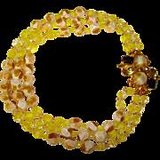 Fabulous FANCY CLASP Art Glass Rhinestone Vintage Necklace