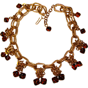 Fabulous Chunky Chain With AMBER GLASS Drops Vintage Necklace