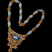 Fabulous Czech ART DECO Blue Glass Necklace