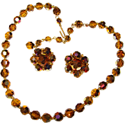 Gorgeous AUTUMN Color Brown Aurora Crystal Necklace Set