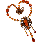 Fabulous ART DECO Amber Glass Necklace